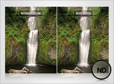 side by side comparison of waterfall photo using neutral density filter versus without