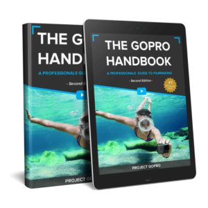 Book cover of The GoPro Handbook in blue and grey showing a woman underwater holding a camera