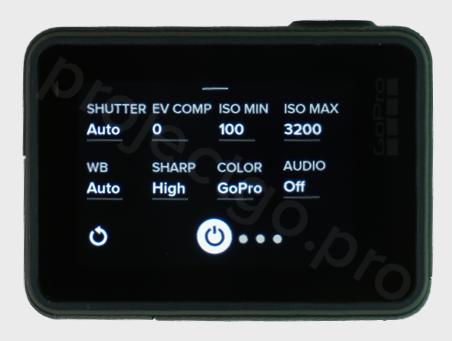 GoPro display showing Protune menu settings