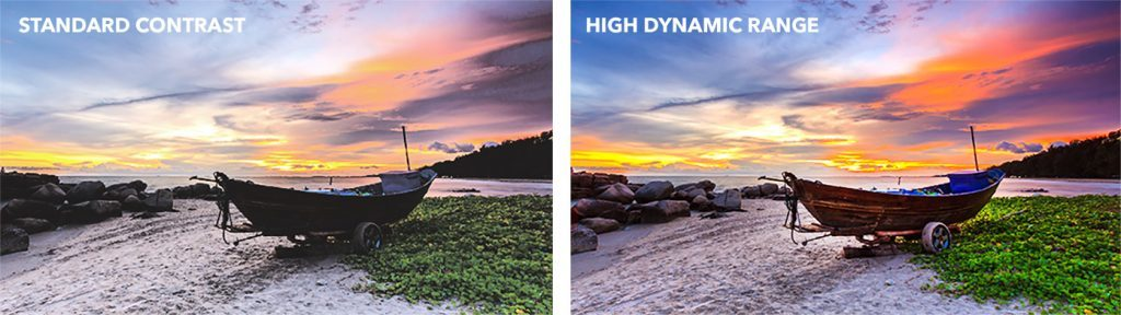 two identical images side by side - one displaying the use of hdr and the other not