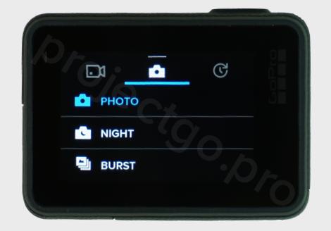 main photo menu settings on GoPro camera