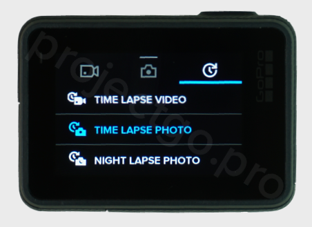 Newer GoPro touch screen display showing time lapse setting menu