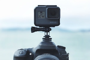 GoPro on top of professional camera