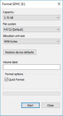 Formato scheda SD